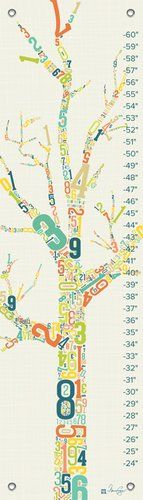 #babydecor A #tree's silhouette is filled with numbers in a contemporary and cool color palette. This #growth chart is perfect for little boys and girls and would...