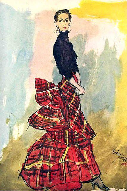 Schiaparelli design illustrated by Eric, Vogue 1948