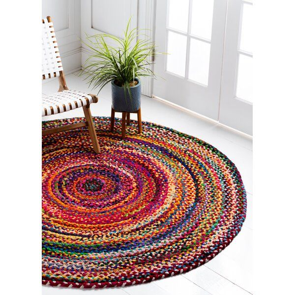 August Grove Partee Hand Braided Cotton Yellow Pink Area Rug Reviews Wayfair Rugs On Carpet