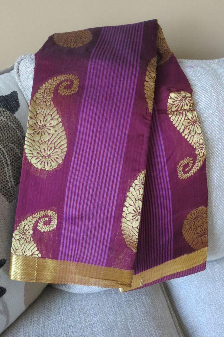 Handloom Silk Cotton sari with zari weave by ZainabBoutique on Etsy