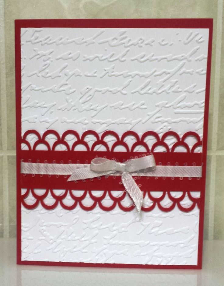Valentine Card #TMCanada #Valentine #card #emboss #ribbon #punch #easy #beginner