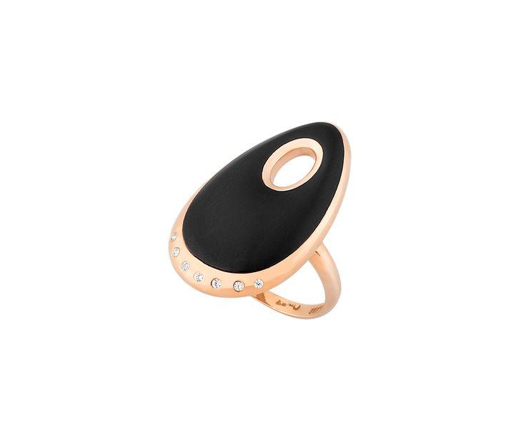 rose gold ring with black smalto in 14K