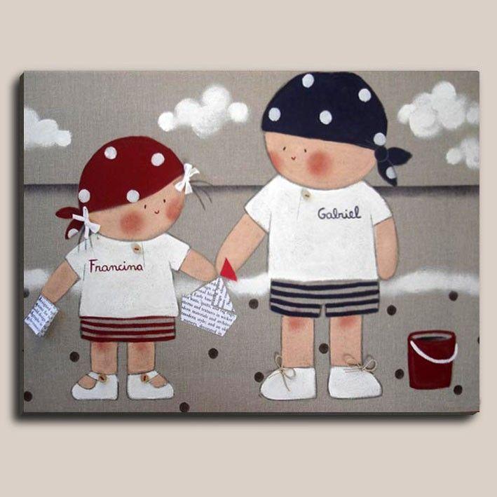 Cuadros infantiles: Piratas - Cuadro pintado a mano. Bastidor de madera de 61 x 46 cm, entelado con lino color piedra. Motivo: Niño y niña piratas. Aplicaciones: lacitos en las coletas, botones madera en zapato niña, cordones en  zapato niño, botones nacar en camiseta, barquito y libreta de papel. (Contactar con nosotros si quereis variaciones en colocación mayor-menor, niño o niña...) Todos nuestros cuadros van acompañados de una ficha técnica con un Nº de serie que acredita que es un…