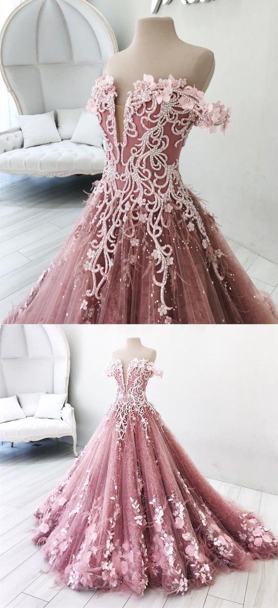 verträumte rosa off Schulter Ballkleider, wunderschöne Perlen Abendkleid mit Feder, schick