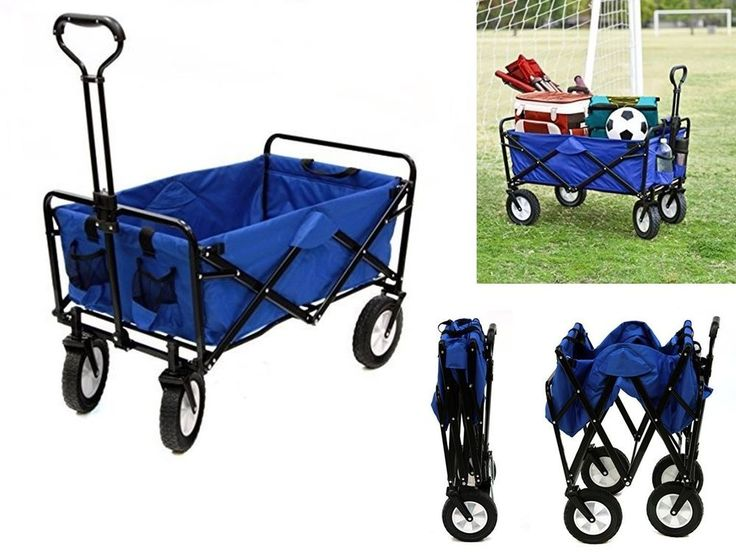blue folding utility cart garden wagon yard carts gardening wagons outdoor buggy
