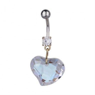 Piercing de ombligo con forma de corazón de cristal