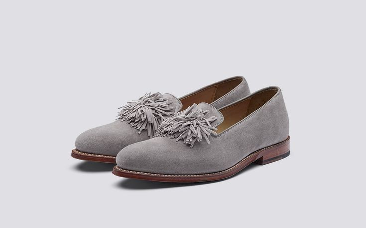 Darcey | Womens Loafer in Taupe Suede with a Leather Sole | Grenson Shoes - Three Quarter View