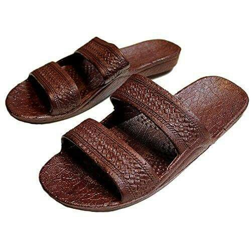 Tara Jo -Brown Rubber Slide on Sandal Slippers Double Strap, Dark Brown  Hawaii Sandal Hawaii Surf Ware Foot wear
