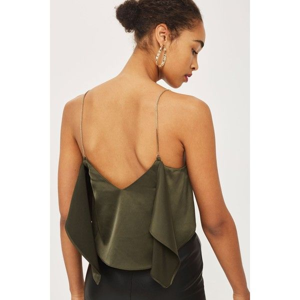 Topshop Tall Chain Strap Camisole Top (£5) via Polyvore featuring khaki, beige cami, topshop cami, strappy cami and polyester camisole