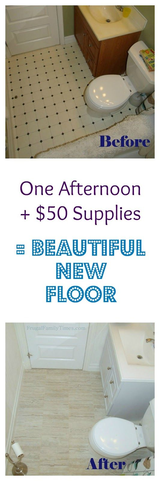 $50 plus one afternoon = Beautiful Tile Floor.  Easy, inexpensive and beautiful!  How to Install Groutable Peel and Stick Vinyl Tile.