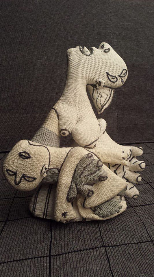 crochet art recreation of picasso's guernica - from roundup of Masterpieces created in crochet