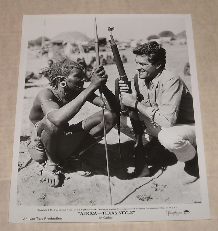1967 Paramount AFRICA - TEXAS STYLE B/W PROMO MOVIE PHOTO HUGH O'BRIEN w NATIVE in Entertainment Memorabilia, Movie Memorabilia, Photographs | eBay