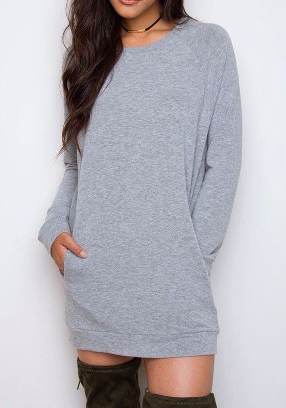 Crafted with comfort and style in mind, this grey mini dress is something you'd want to add to your closet. Own one at Fichic.com!