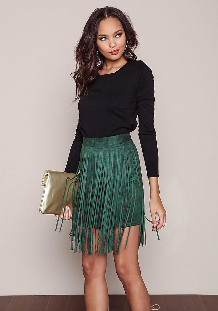 Olive Suede Fringe Mini Skirt