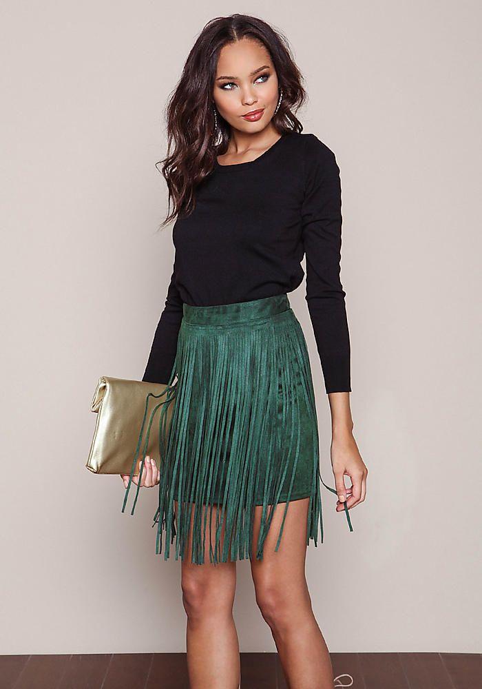 Olive Suede Fringe Mini Skirt