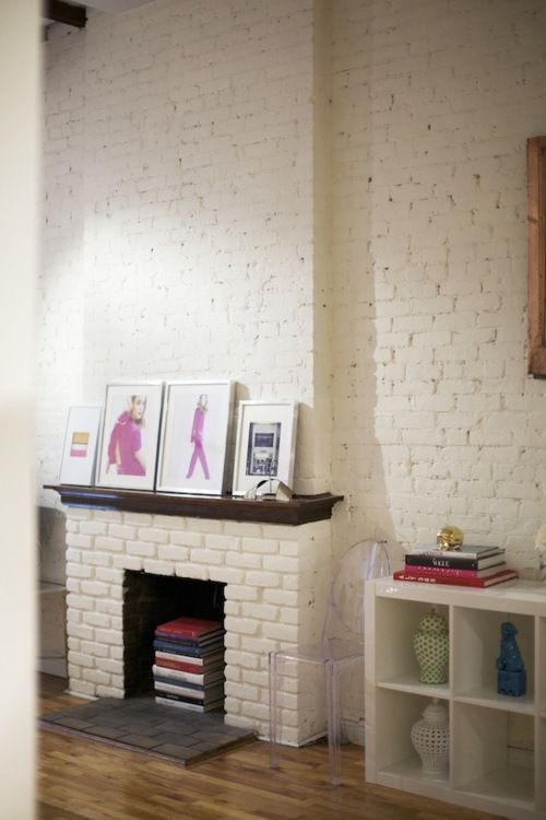 Painted Brick Fireplace With Stained Wood Mantle Would