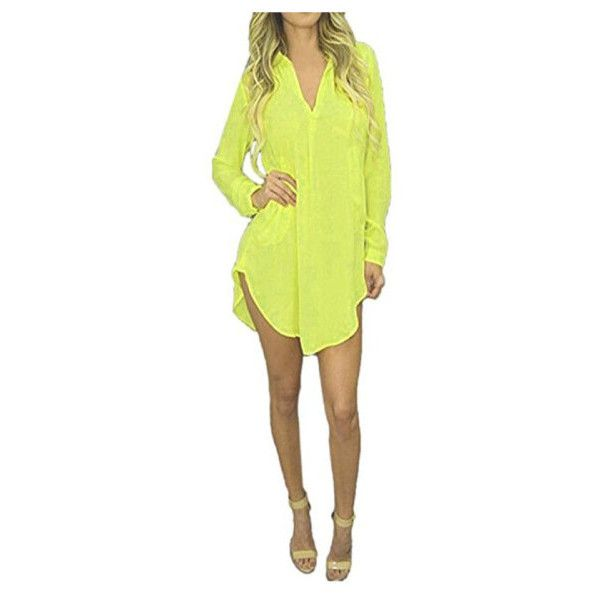 Women's Women Chiffon Sheer Sexy V-neck Long Sleeve Button Down Dress... ($8.99) ❤ liked on Polyvore featuring tops, tops & tees, yellow, long sleeve chiffon top, long sleeve dress shirts, sexy tops, sheer tops and v neck long sleeve top