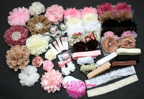 Baby Shower Headband Kit  Deluxe DIY Hair Bow by LilysFlowerSupply, $34.50