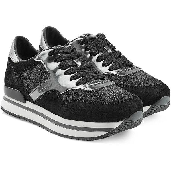 Hogan Leather Platform Sneakers found on Polyvore featuring polyvore, fashion, shoes, sneakers, black, black shoes, leather platform sneakers, black leather shoes, black trainers and leather lace up sneakers
