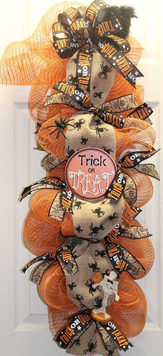 Trick of Treat Halloween Mesh Burlap Swag by southernchicbyle