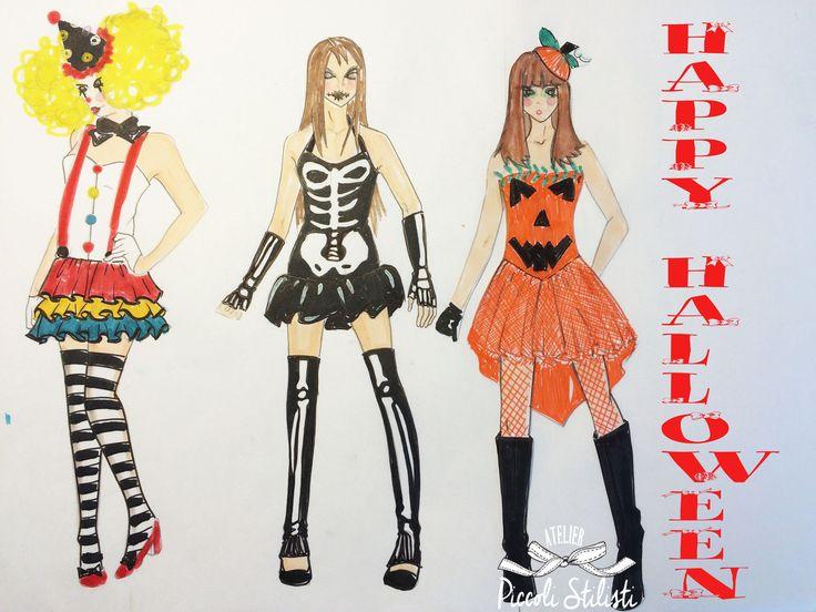#outfit per la notte di #Halloween. abito da clown, abito da scheletro sexy e abito da zucca...#Disegni realizzati a mano