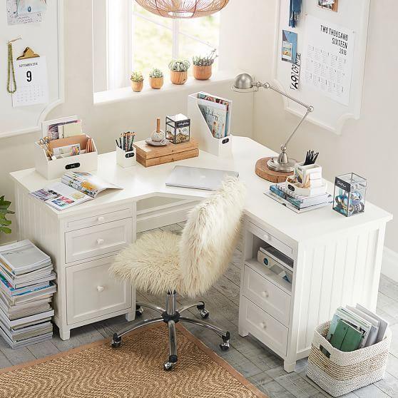 Beadboard Smart Corner Desk Simply White