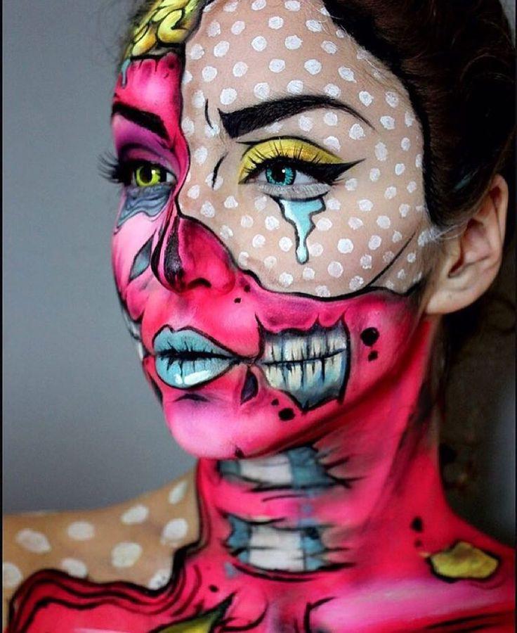 """Lichtenstein zombie! """"Pop Art Monster"""" Serious make-up skills by @ellie35x #ellie35x #makeup #fx…"""
