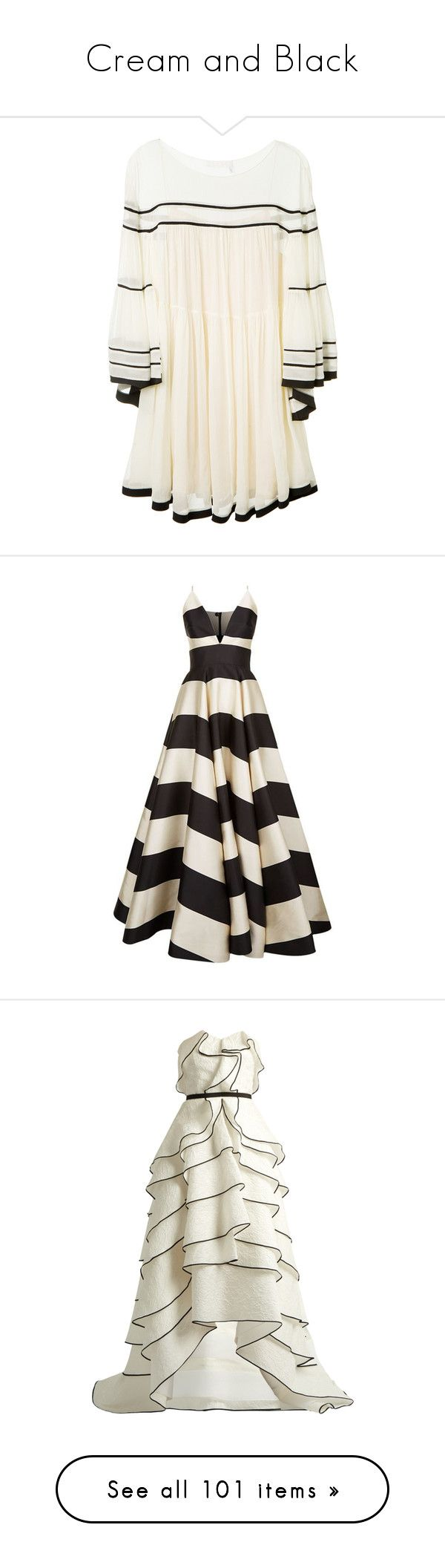 """Cream and Black"" by caprios ❤ liked on Polyvore featuring dresses, stripe dresses, silk slip dress, cream cocktail dress, slip on dress, long striped dress, gowns, long dress, white formal gowns and formal gowns"