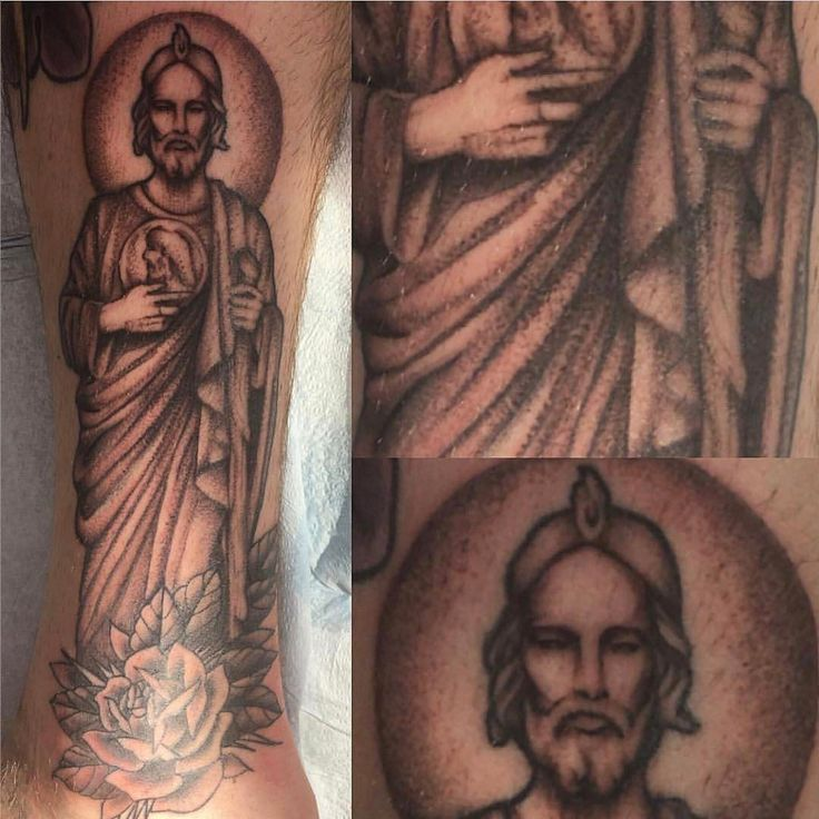 Saint Jude tattoo by Erin Cruse aka @butch_rambo! To book your next appointment give us a call at 859-267-4187 or click on the link in the bio!