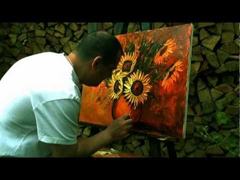 Sunflower oil painting by Andreas Bu, how to paint with palette knife. This is so cool! I am totally going to palette knife paint this summer.