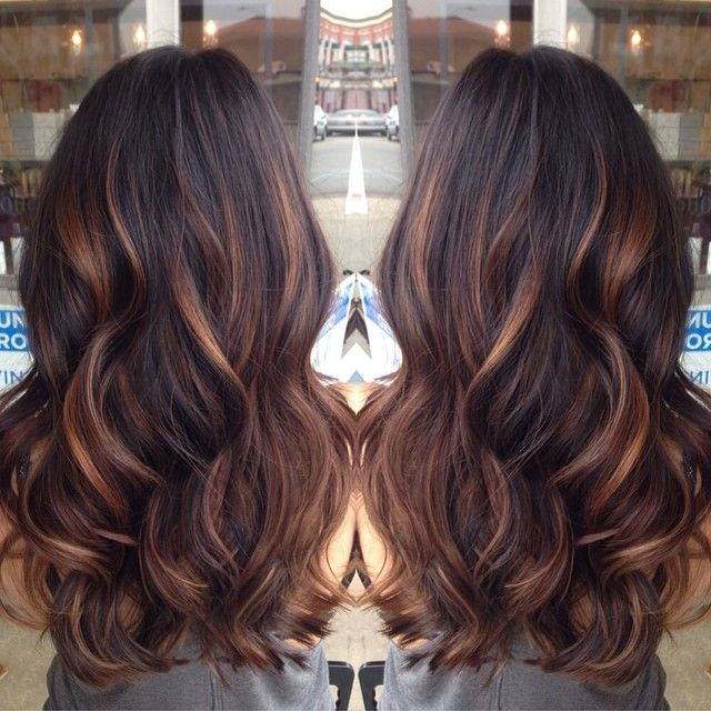 golden caramel balayage'd lights on her dark brown hair ♥