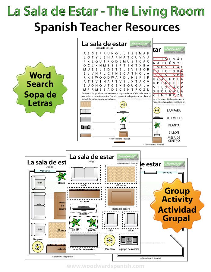 living room in spanish word search and group activity - Living Room Candidate Lesson Plan