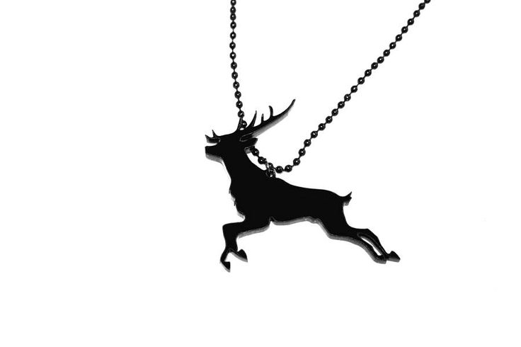 A stunning acrylic leaping deer pendant.Available with a red or black leaping deer pendant.This beautiful leaping deer necklace is made from acrylic and will add a certain something to your outfit. A sophisticated yet fun piece, and a perfect Christmas gift (but remember deers arn't just for Christmas). Available with a black or red deer, these hang on a black chain, and simply look stunning.Acrylic pendant on a Black metal chain.W8 x H6 x D0.3cm