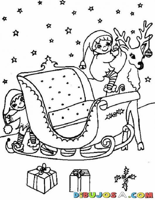 Colorear Duendes De Santaclos Preparando El Trineo De Navidad | COLOREAR DIBUJOS…