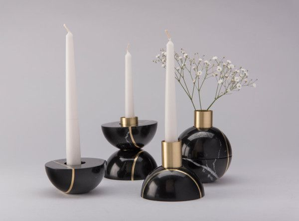 Hauri by PECA - absolutely these multi-function marble tabletop decorations that double up as a vase and a candle holder).