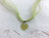 Green Genuine Seaglass Heart Necklace