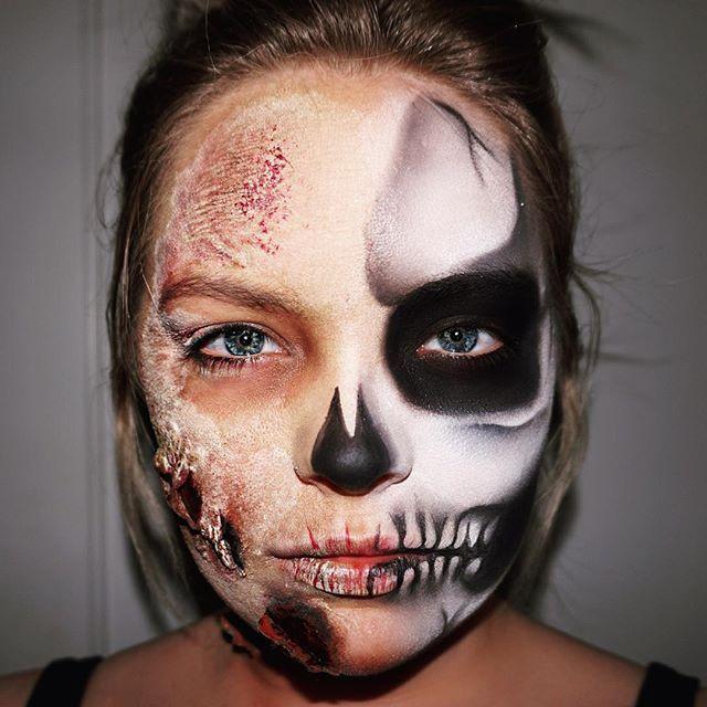 #mulpix Took my first makeup class today @kryolanofficial in Chicago! Half zombie half skeleton 💀  #Motd  #fotd  #skeleton  #zombie  #walkingdead  #zombiemakeup  #sfx  #skull  #halloweenmakeup  #halloween  #kryolan  #BRIANNAFOX