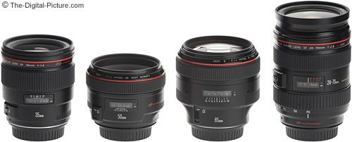 Pictured above from left to right are the Canon EF 35mm f/1.4 L USM Lens, Canon EF 50mm f/1.2 L USM Lens, Canon EF 85mm f/1.2 L USM Lens and Canon EF 24-70mm f/2.8 L USM Lens.