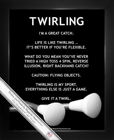 """Be inspired by Twirling Batons Poster Print. Spirited sayings like, """"I'm a great catch,"""" make this a funny gift for baton twirlers. Girls who love twirling will laugh out loud when they receive this i"""