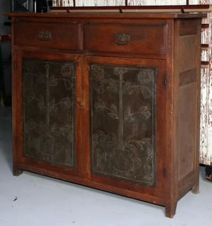 "W Rich and Co., oak pie safe, all original with oak and tulip tins 20"" x 57"" x 53"" - Price Estimate: $1000 - $2000"