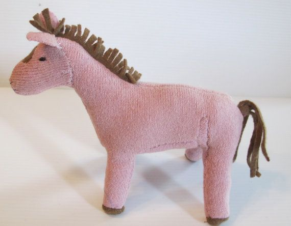 Stuffed horse:  pink repurposed wool sweater, plush horse, waldorf horse, horse toy, soft-sculpture horse