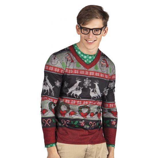 Kerst shirt met lange mouwen met een fotoprint aan beide zijden van o.a. rendieren. Materiaal: 100% polyester.