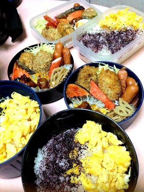 三人分のお弁当 - 46件のもぐもぐ - さつまいもコロッケ、ウィンナー、きんぴら、焼き豚団子、カニカマ、焼鮭 by koringo
