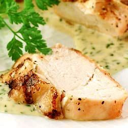 Chicken with Chardonnay and Fresh Herbs #Recipe. Goat cheese under the skin is the trick for keeping chicken moist.