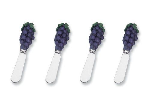 "Grape Cheese Spreader Set of 4 (Bulk) by Supreme Housewares. $9.95. Includes: 4 total pieces. Grape Cheese Spreader Set of 4 (Bulk). Dimensions: 5""L. Material: Resin Handle, Stainless Steel Blade. Care and Clean: Hand wash only. These are our best selling items. With so many styles to choose from, who can resist? Select styles are also sold as a set of 4. (Bulk). Save 17%!"