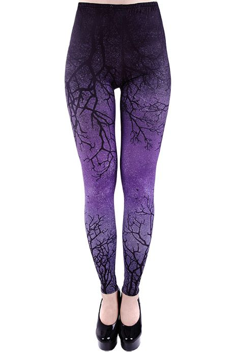 These gothic leggings by Restyle are digitally printed with a Euflonica black tree branches design on a purple gradient background. They are made of a soft stretchy fabric (92% polyester, 8% spandex).