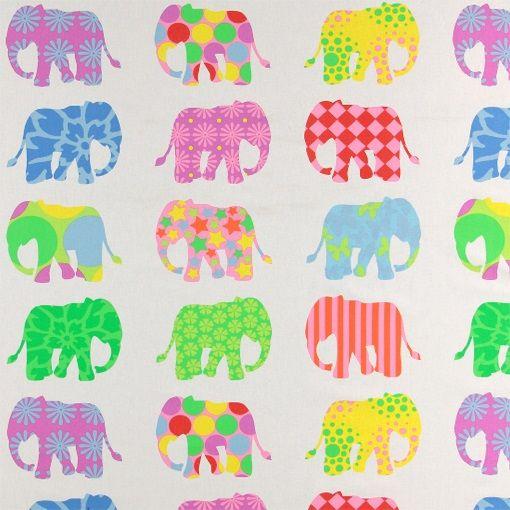 Bomull offwhite m multifarge elefanter - STOFF & STIL