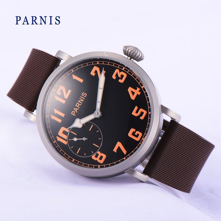 120.00$  Watch now - http://ali1tq.worldwells.pw/go.php?t=32706311157 - Fashion 46mm Parnis Watch Man Black Dial Orange Numbers Hand-Winding Men's Wristwatch Brown Rubber Watchband Mechanical Watches