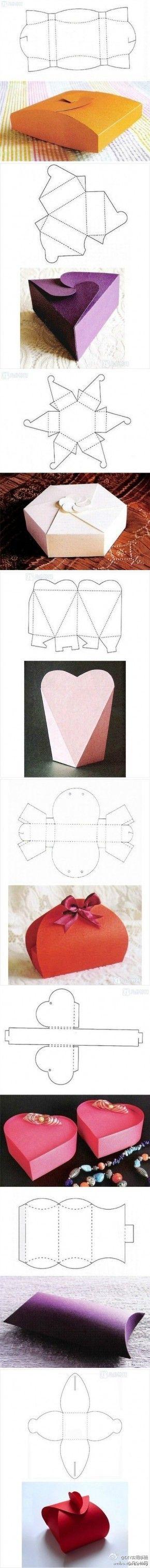 Fold your own gift-box! / Zelf mooie doosjes vouwen
