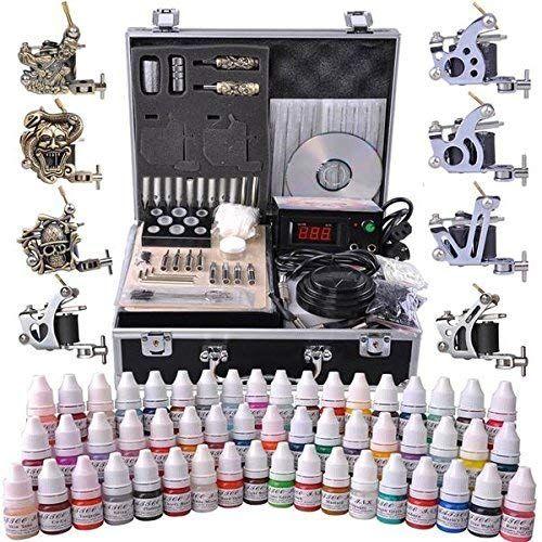 Meilleures ventes AMPERSAND SHOPS Kit professionnel de tatouage complet Alimentation LCD 8 pistolets pour tatouage, Portable en métal portant la sélection + 54 encres en ligne   – badass tattoos